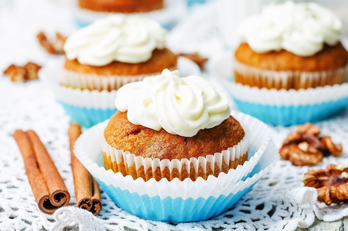Carrot cupcakes with peanut butter frosting