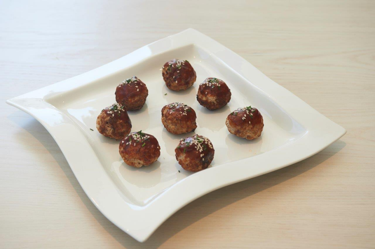 Fluffy meatballs with dates and rosewater, glazed with barbecue sauce