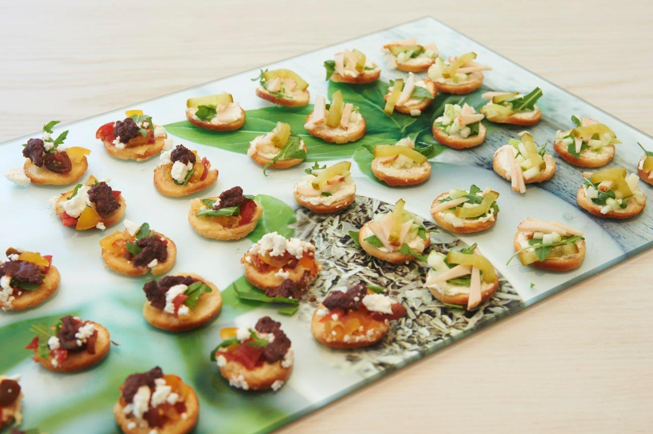 Hors d'oeuvres/canapés with a base of mini bake crisp Crusti Croc