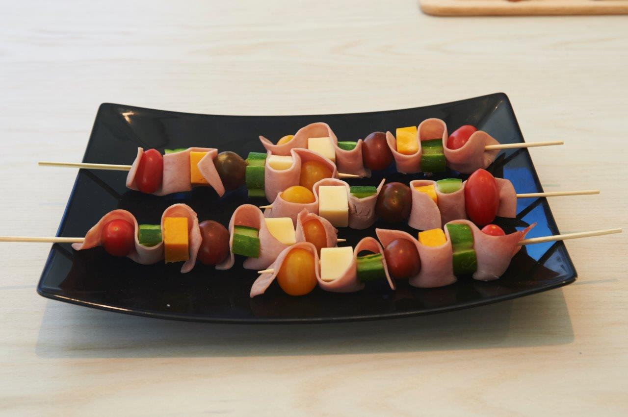Colourful ham and cheese skewers